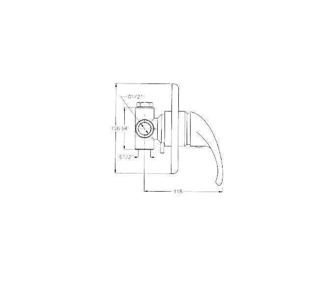 שרטוט של מערכת קיר 3 Rotem 900181