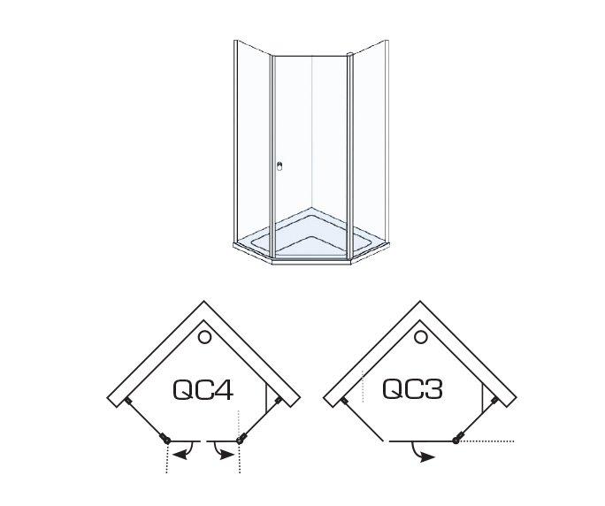 שרטוט של מקלחונים QC3/QC4