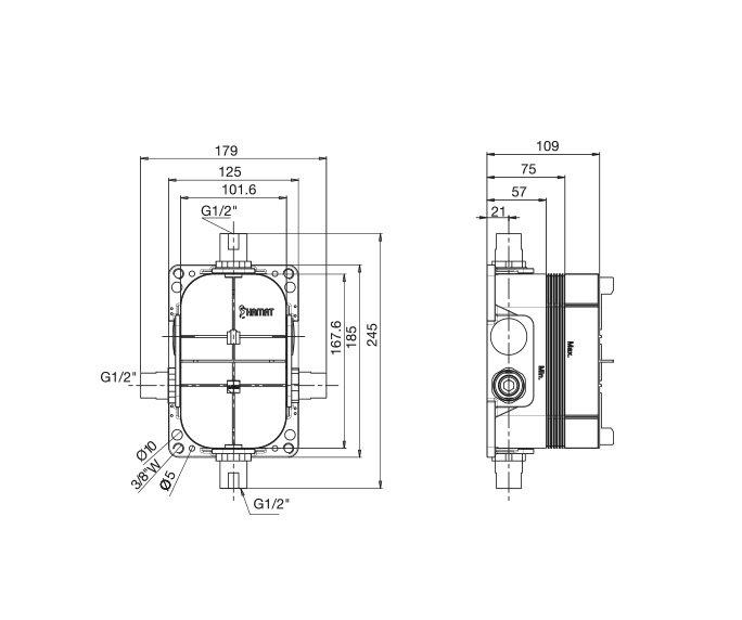 שרטוט של קופסת אינטרפוץ בהתקנה מוקדמת - בשילוב גוף 3 דרך
